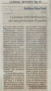 Articolo Carlo Triarico su La Stampa 28 dicembre 2014